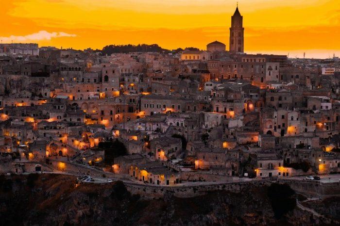 Twilight Snapshot of the Italian Landscape in Matera